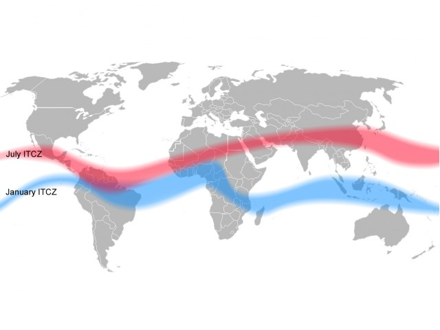 Position of ITCZ in January and July