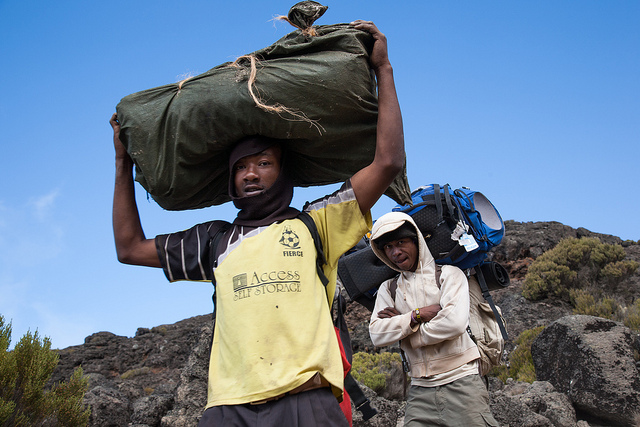 Porters Carrying Gear on Kilimanjaro
